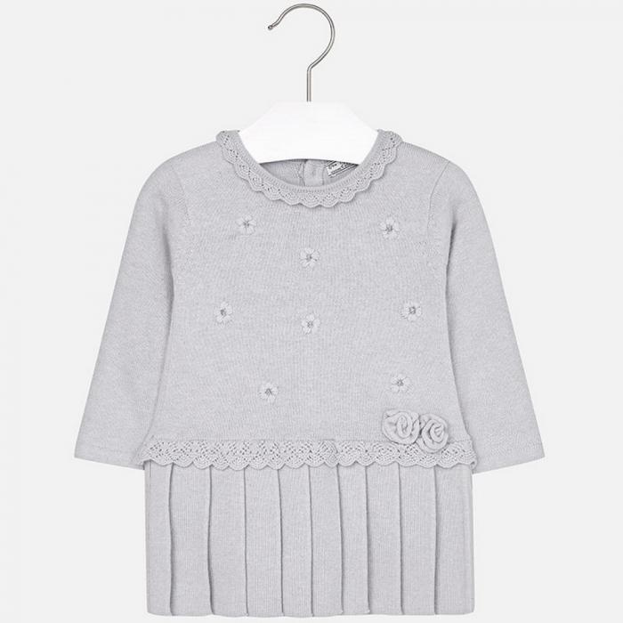 Rochie tricotata cu fusta plisee, gri, Mayoral 0