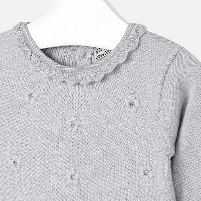 Rochie tricotata cu fusta plisee, gri, Mayoral 2
