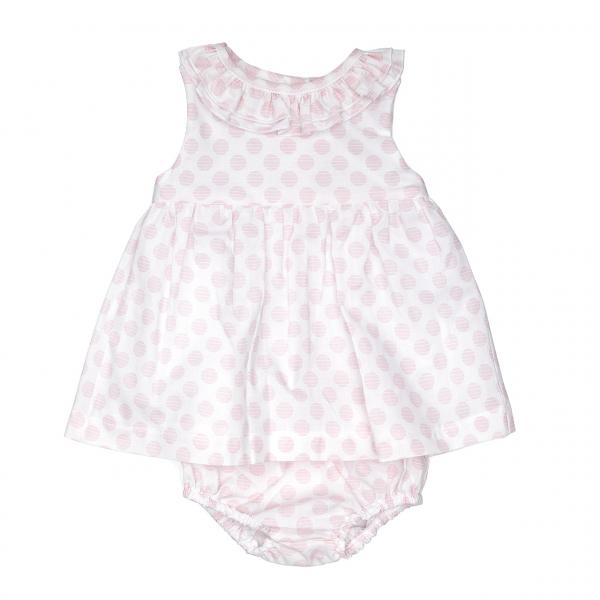 Rochita poplin cu chilot bebe fetita, buline roz, Babybol 0