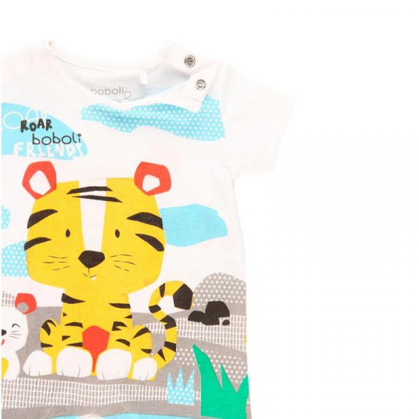 Salopeta bebe baiat, animal print, Boboli 2