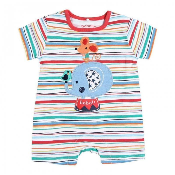 Salopeta bebe baiat,multicolor, aplicatie elefant,Boboli 0