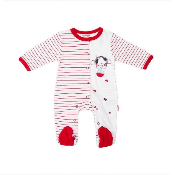 Salopeta bebe bumbac Babybol red 0