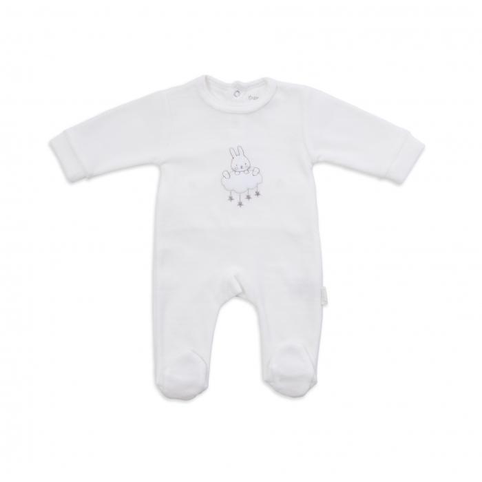 Salopeta  bebe  catifea  crem, unisex, broderie iepuras,Babybol 0