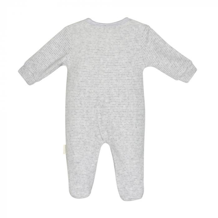 Salopeta bebe catifea Babybol, gri, broderie iepuras 1