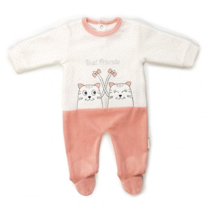 Salopeta bebe fetita, broderie pisicute, salmon, Babybol 0