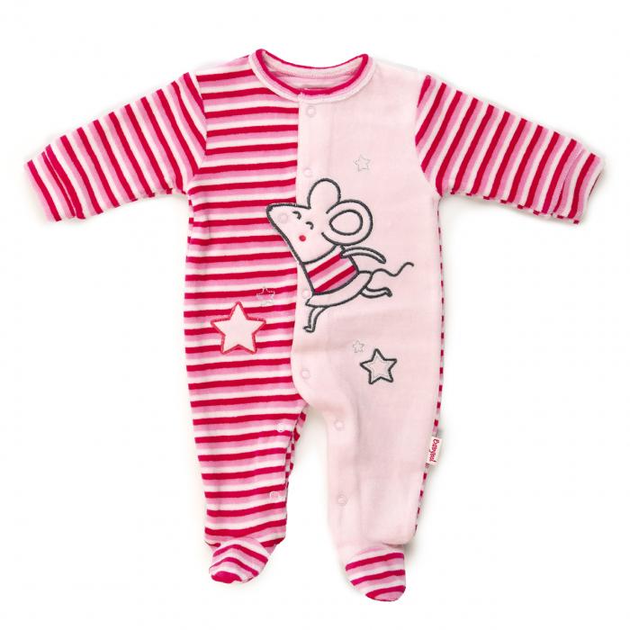 Salopeta bebe fetita, broderie soricel, roz, Babybol 0