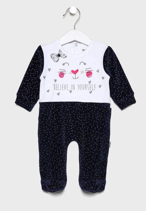 Salopeta bebe fetita catifea, imprimeu pisicuta, navy, Babybol 0