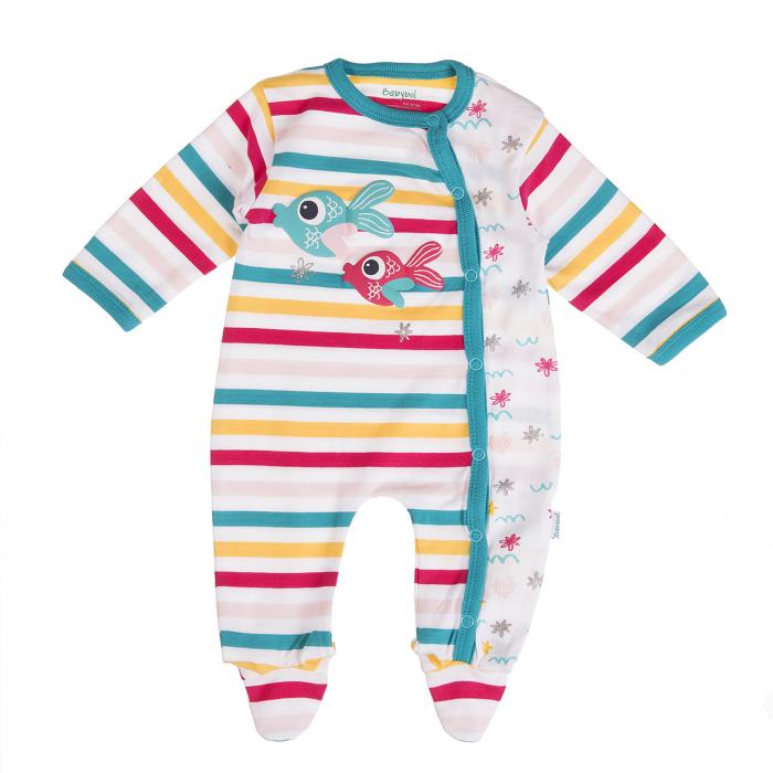 Salopeta bebe fetita,dungi multicolore, Babybol 0