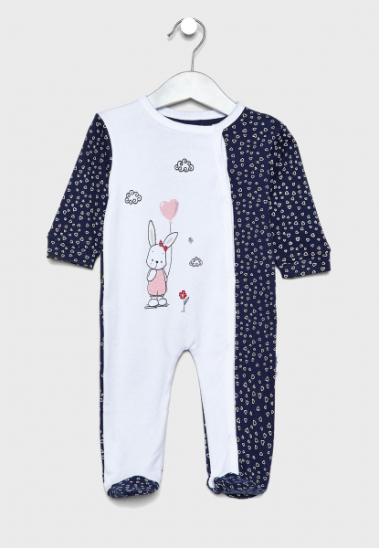 Salopeta bebe fetita, imprimeu iepuras cu inimioare, Babybol 0