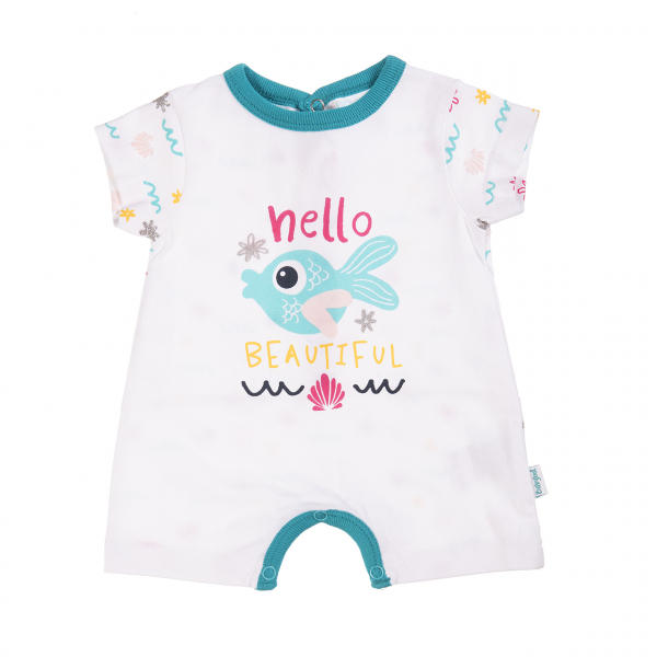 Salopeta bebe fetita, imprimeu pestisor, turcoaz, Babybol 0