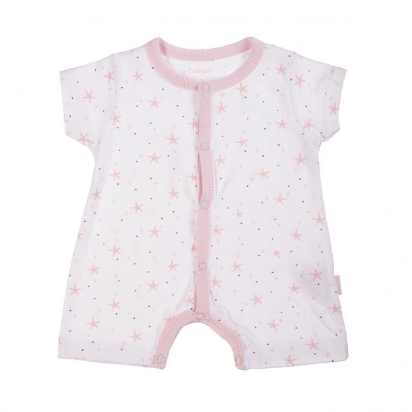 Salopeta bebe fetita,imprimeu stelute, roz, Babybol 0
