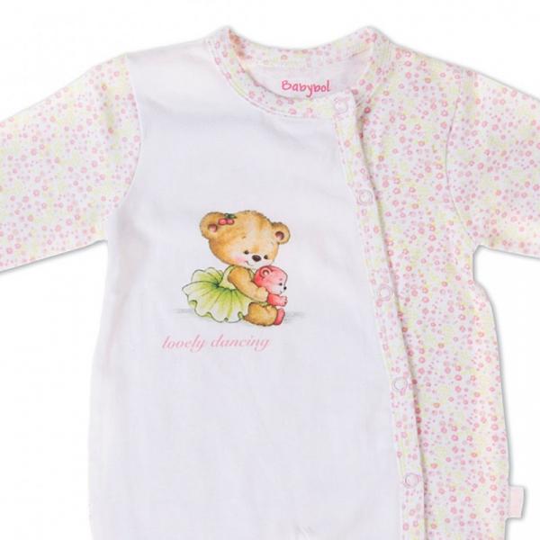 Salopeta bebe fetita, imprimeu ursulet dansator, Babybol 1