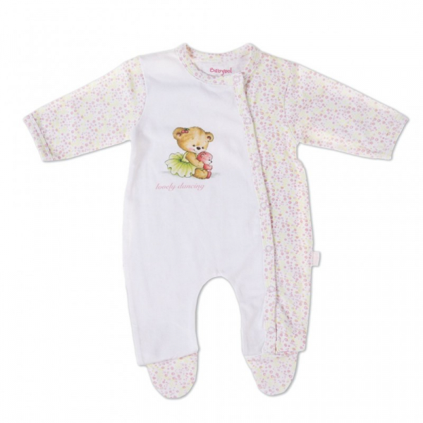 Salopeta bebe fetita, imprimeu ursulet dansator, Babybol 0