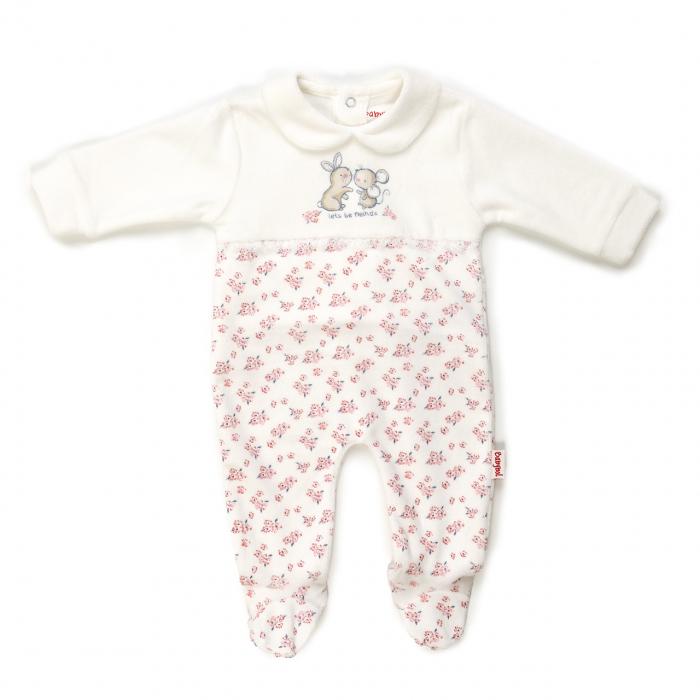 Salopeta bebe fetita maneca lunga, imprimeu soricel si flori, Babybol 0