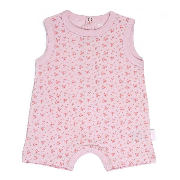 Salopeta bebe fetita vara, imprimeu flori , roz,Babybol 0