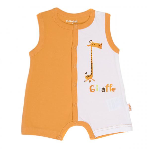 Salopeta bebe ,imprimeu girafa, orange , Babybol 0