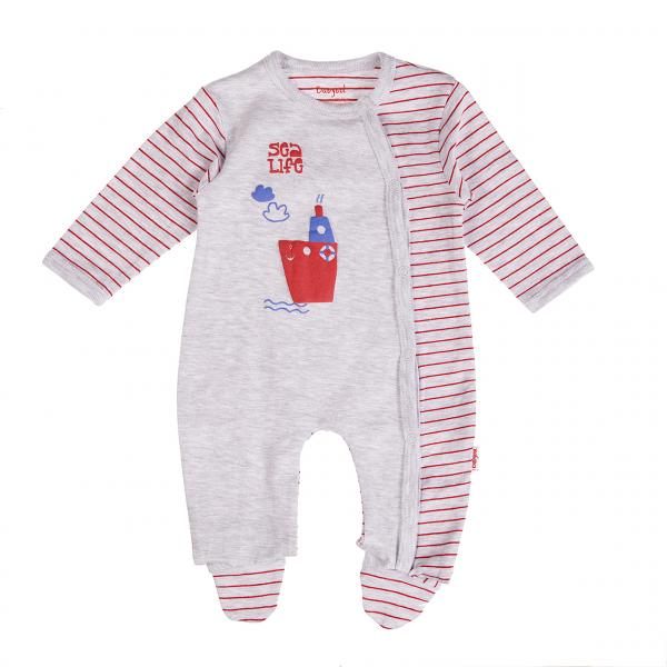 Salopeta bebe maneca lunga , dungi rosii, gri, Babybol 0