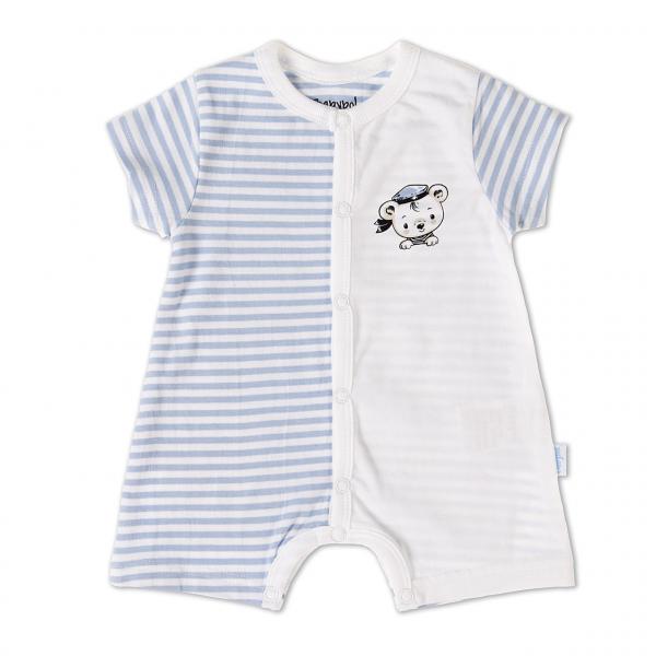 Salopeta bebe maneca scurta , dungi blue, Babybol 0