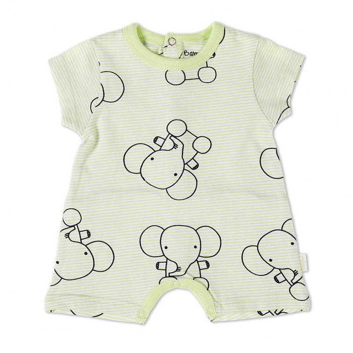Salopeta bebe maneca scurta,imprimeu elefanti, Babybol 0