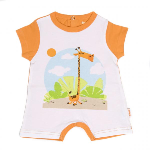 Salopeta bebe maneca scurta, imprimeu girafa, orange 0