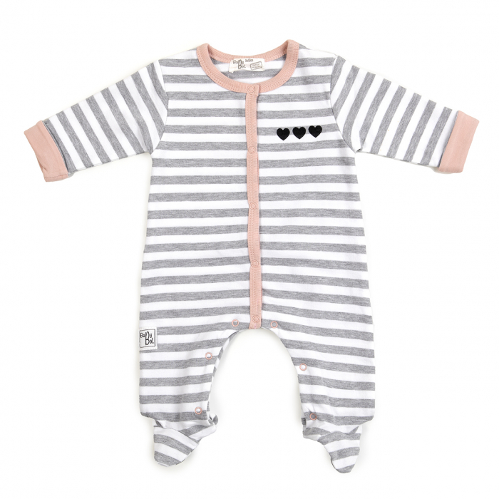 Salopeta bumbac bebe fetita, dungi gri, Babybol 0