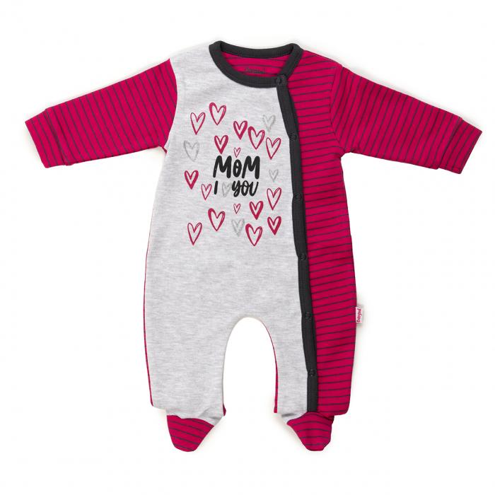 Salopeta bumbac bebe fetita,imprimeu inimioare,fucsia/gri, Babybol 0