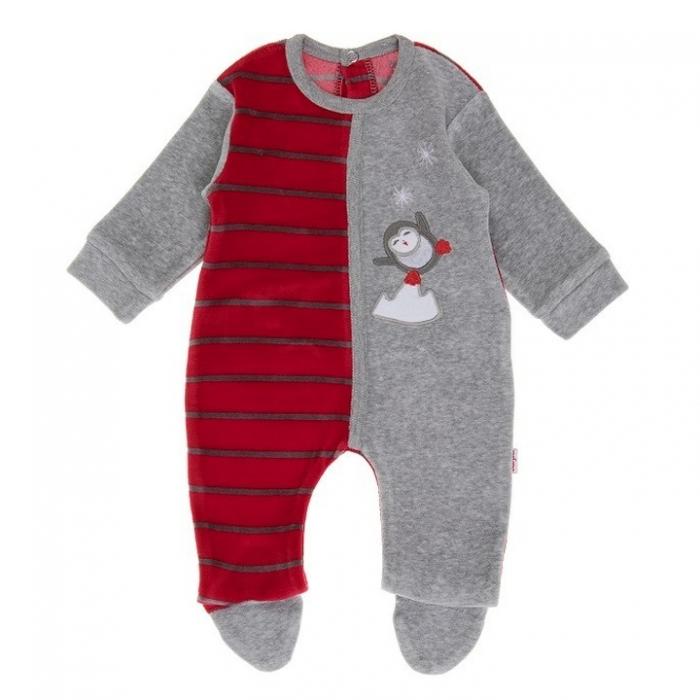 Salopeta cu botosei bebe baiat, broderie pinguin patinator, Babybol 0