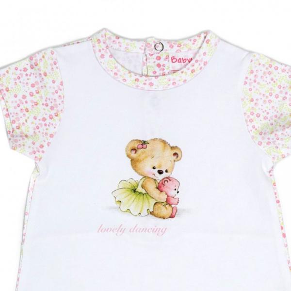 Salopeta fetita maneca scurta, imprimeu flori roz pastel, Babybol 1