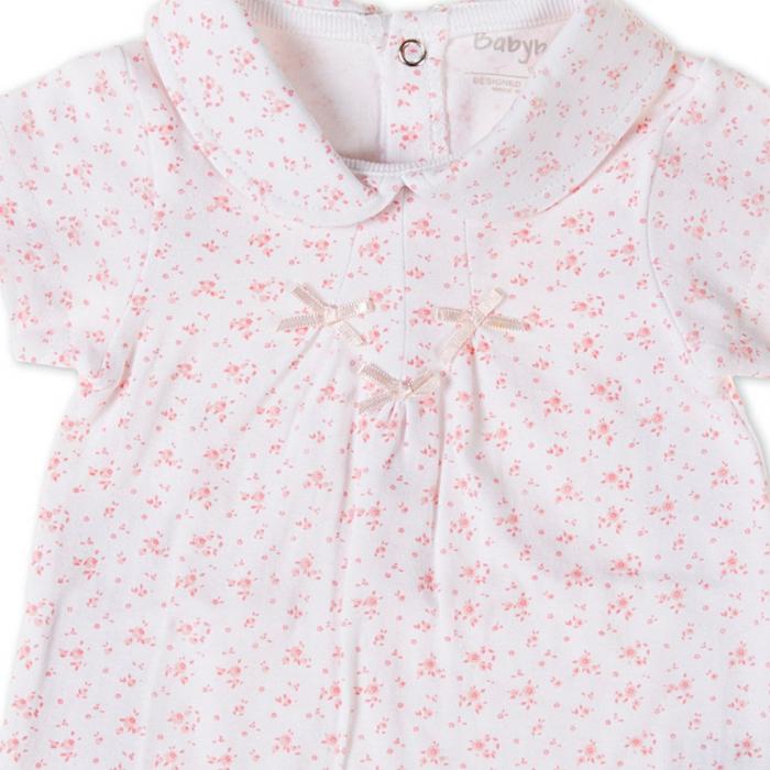 Salopeta fetite 0-18 luni, floricele roz, Babybol 1
