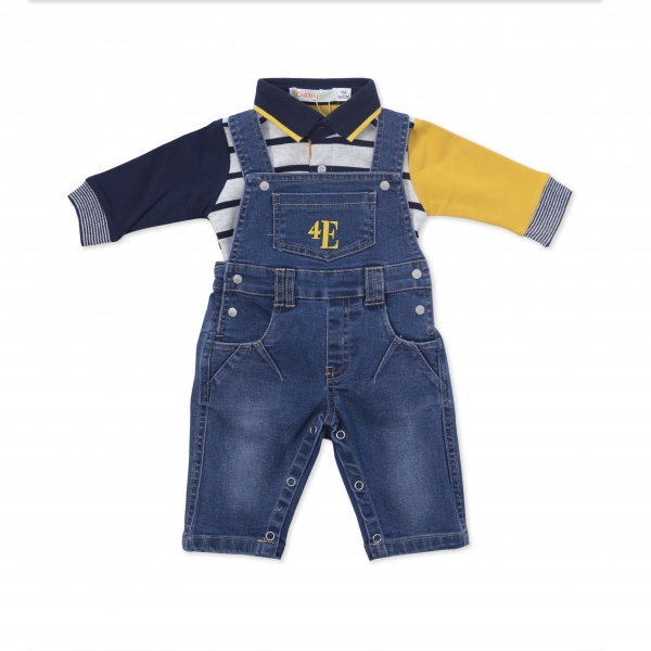 Salopeta jeans cu tricou polo , Babybol Barcelona 0