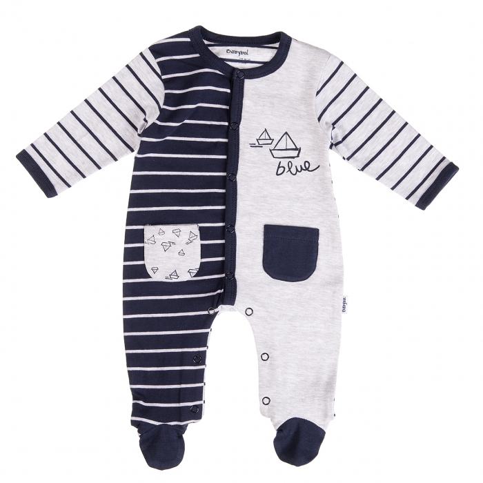 Salopeta maneca lunga bebe 0-9 luni, dungi navy, Babybol 0