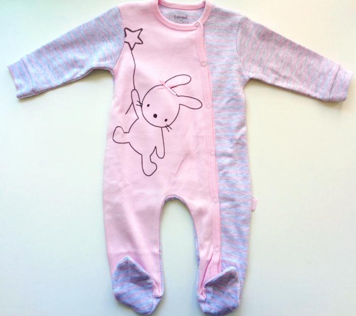 Salopeta maneca lunga bebe , roz ,Babybol 0