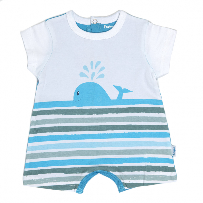 Salopeta maneca scurta baiat 0-18 luni, imprimeu balena, Babybol [0]