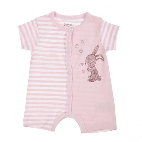 Salopeta maneca scurta bebe fetita, imprimeu iepuras, Babybol 0