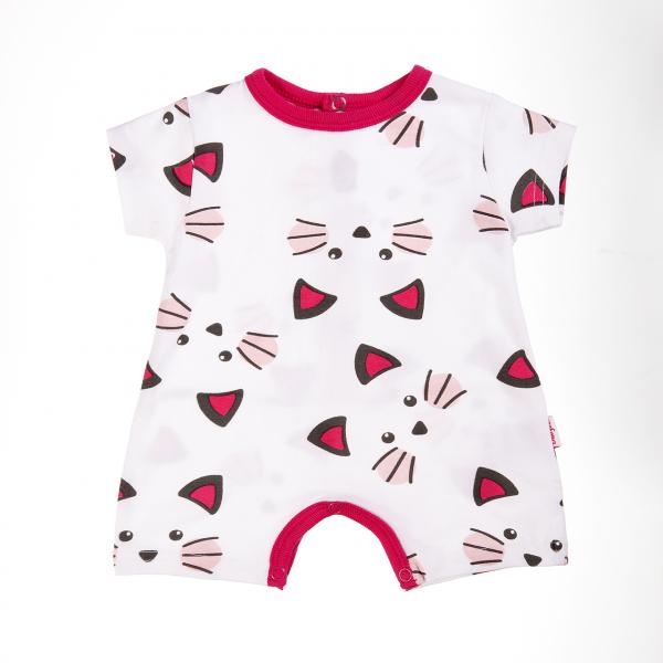 Salopeta vara bebe fetita, imprimeu pisicute, Babybol 0