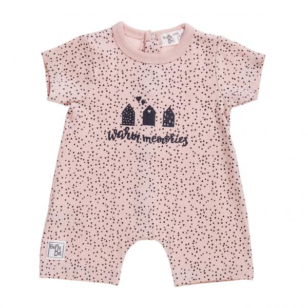 Salopeta vara bebe fetita, roz pudra, Babybol 0