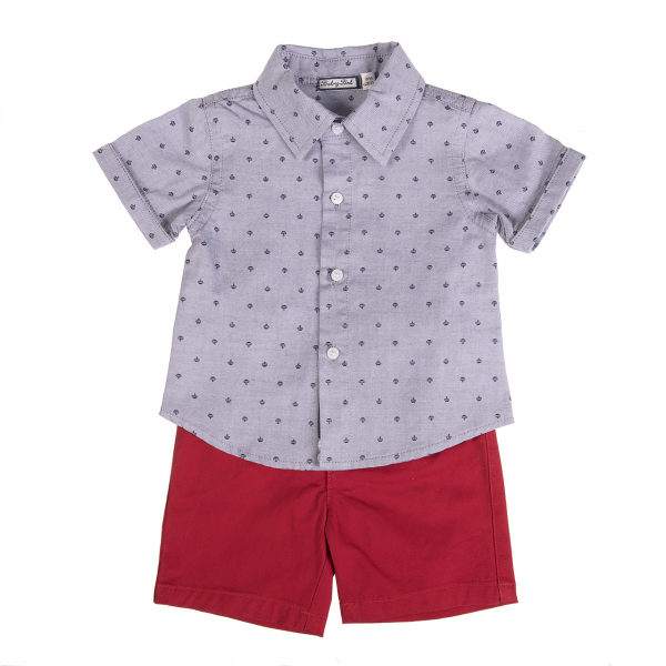 Set 2 piese baiat camasa si pantalon scurt rosu, Babybol [0]