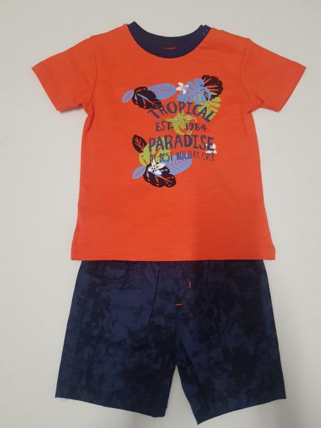 "Set 2 piese baiat tricou orange si pantalon scurt, ""tropical paradise"" , Babybol 1"