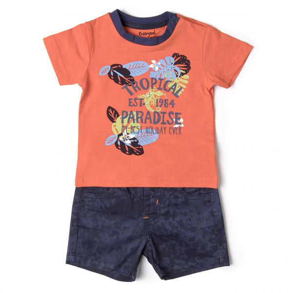 "Set 2 piese baiat tricou orange si pantalon scurt, ""tropical paradise"" , Babybol 0"