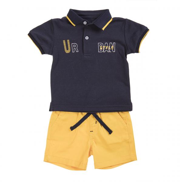 Set 2 piese baiat, tricou polo cu pantalon scurt galben, Babybol 0