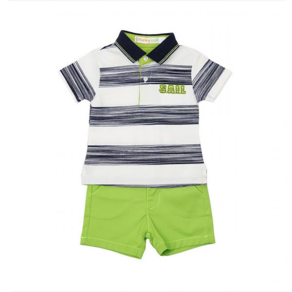 Set 2 piese baiat, tricou polo si pantaloni scurti, verde, Babybol 0