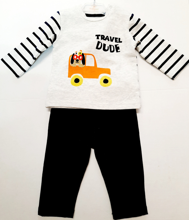 Set 2 piese bebe baiat, tricou si pantalon , navy, Babybol 0