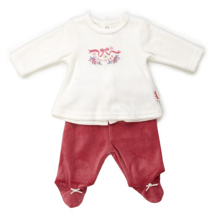 Set 2 piese bebe fetita catifea, grena, Babybol 20003 0