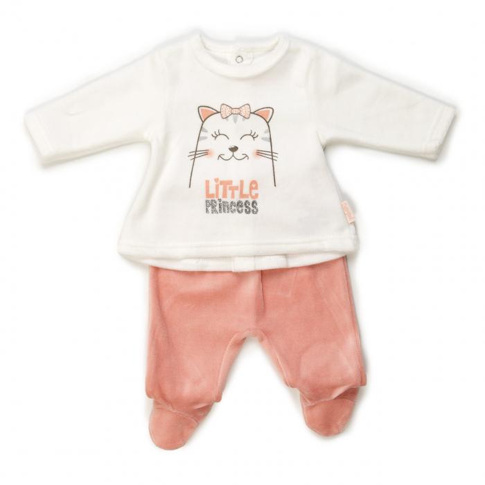 Set 2 piese bebe fetita catifea, salmon, Babybol 2006 0