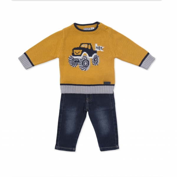 Set pulover tricotat cu pantalon jeans Babybol 0