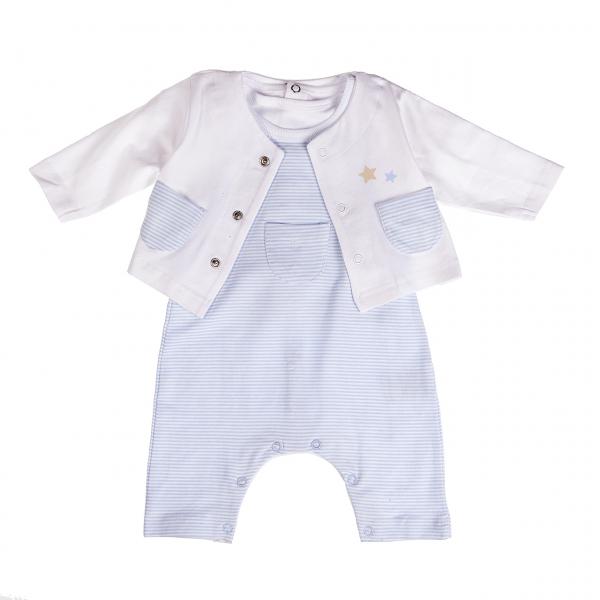 Set 3 piese bebe baiat, tricou +salopeta+cardigan, Babybol 0