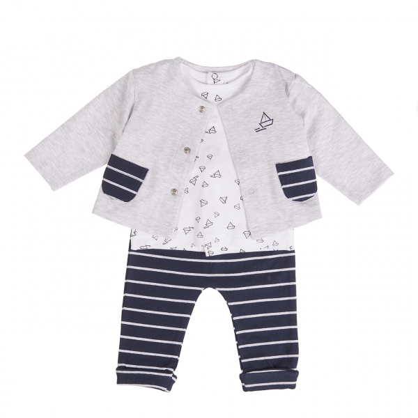 Set 3 piese bebe , cardigan-tricou-pantalon, dungi navy [0]