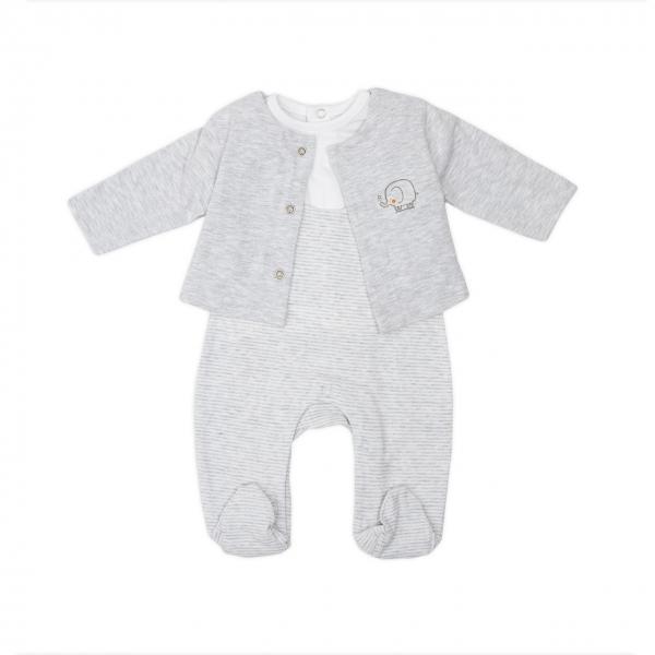 Set 3 piese bebe cardigan+tricou+salopeta Babybol 0