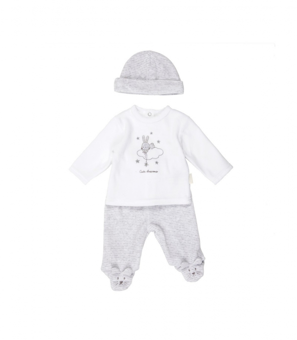 Set 3 piese bebe cute dreams Babybol, gri 0