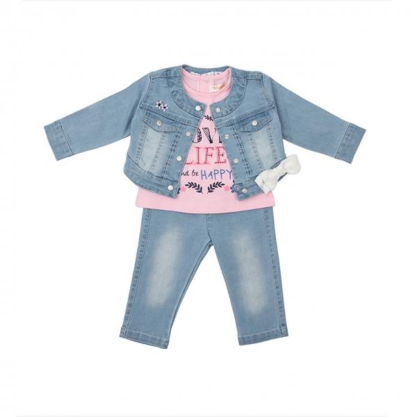 Set 3 piese jeans fata Babybol roz 0